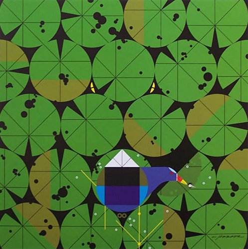 Gallinule and Gator by Charley Harper