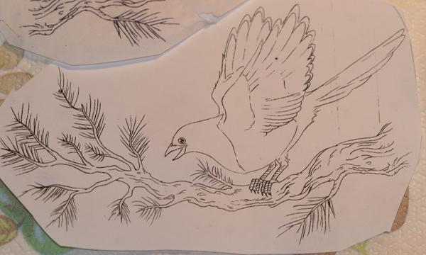 magpie tattoo stencil