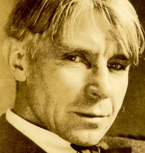 "A picture of Carl Sandburg from his poetry book, ""Smoke and Steal""."