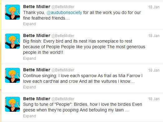 Bette Midler People parody tweets