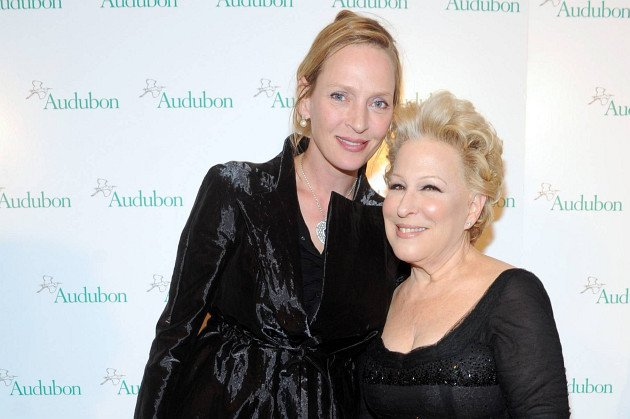 Uma Thurman and Bette Midler. Diane Bondareff/Invision for the National Audubon Society/AP Images