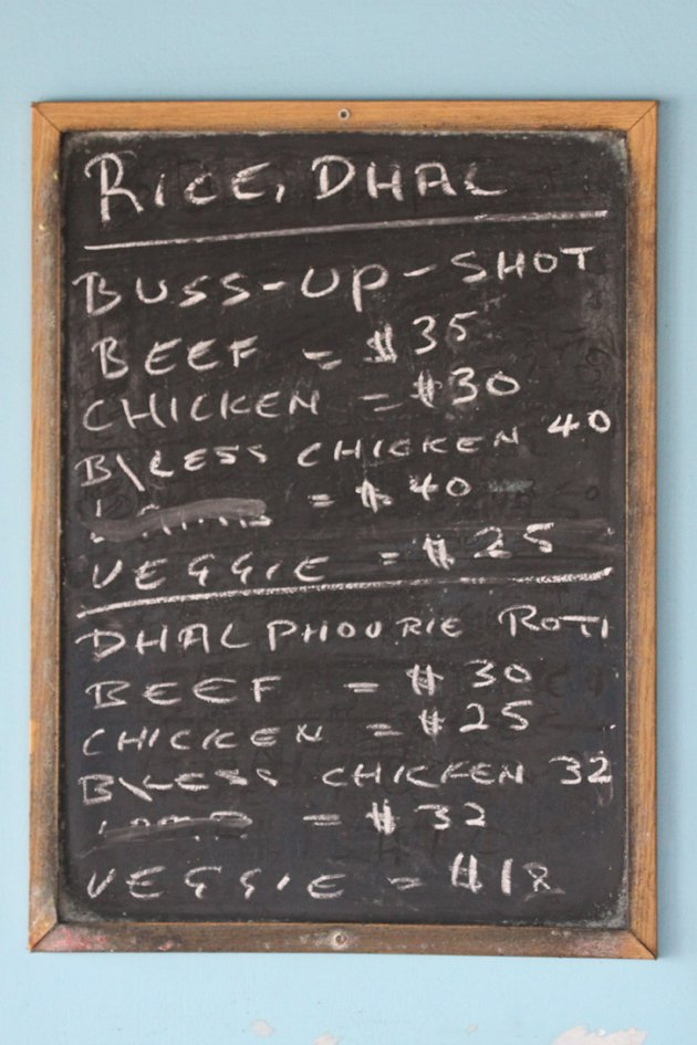 menu at the roti place